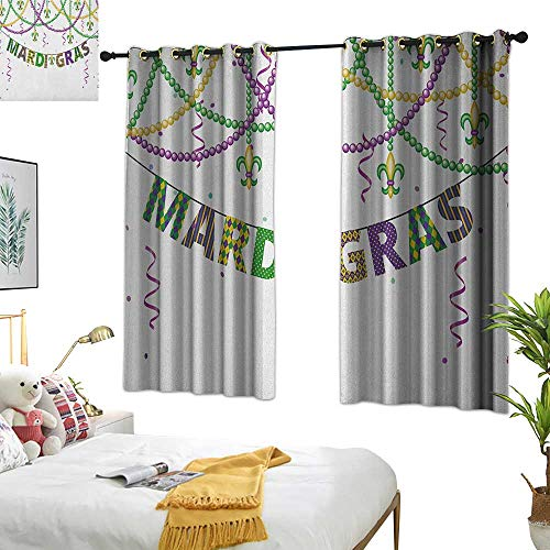 Warm Family Thermal Curtains Mardi Gras,Festive Design with Fleur De Lis Icons Hanging from Colorful Beads, Purple Green Yellow 72