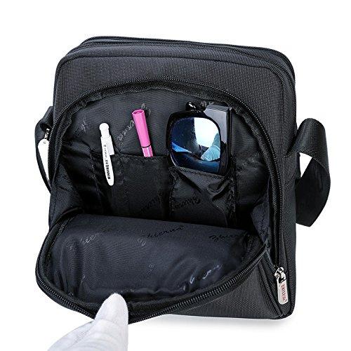 Bandolera pequeño hombre negro para el hombro hombro vacaciones viaje Señor bolsillos Messenger Bag Crossover