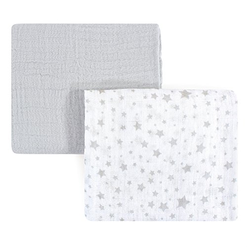 Hudson Baby Unisex Baby Muslin Swaddle Blankets, Gray Stars 2 Pack, One Size ()