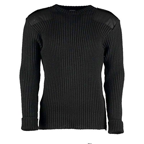 British Commando Sweater Woolly Pully CREW Neck with Epaulets BLACK - Large by TW Kempton