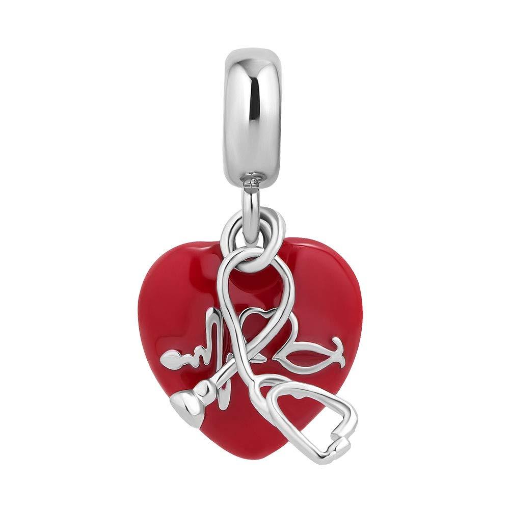 Sug Jasmin Hear Heartbeat Electrocardiograma Red Heart Charms ECG Beads Compatible con Pulseras de Abalorios