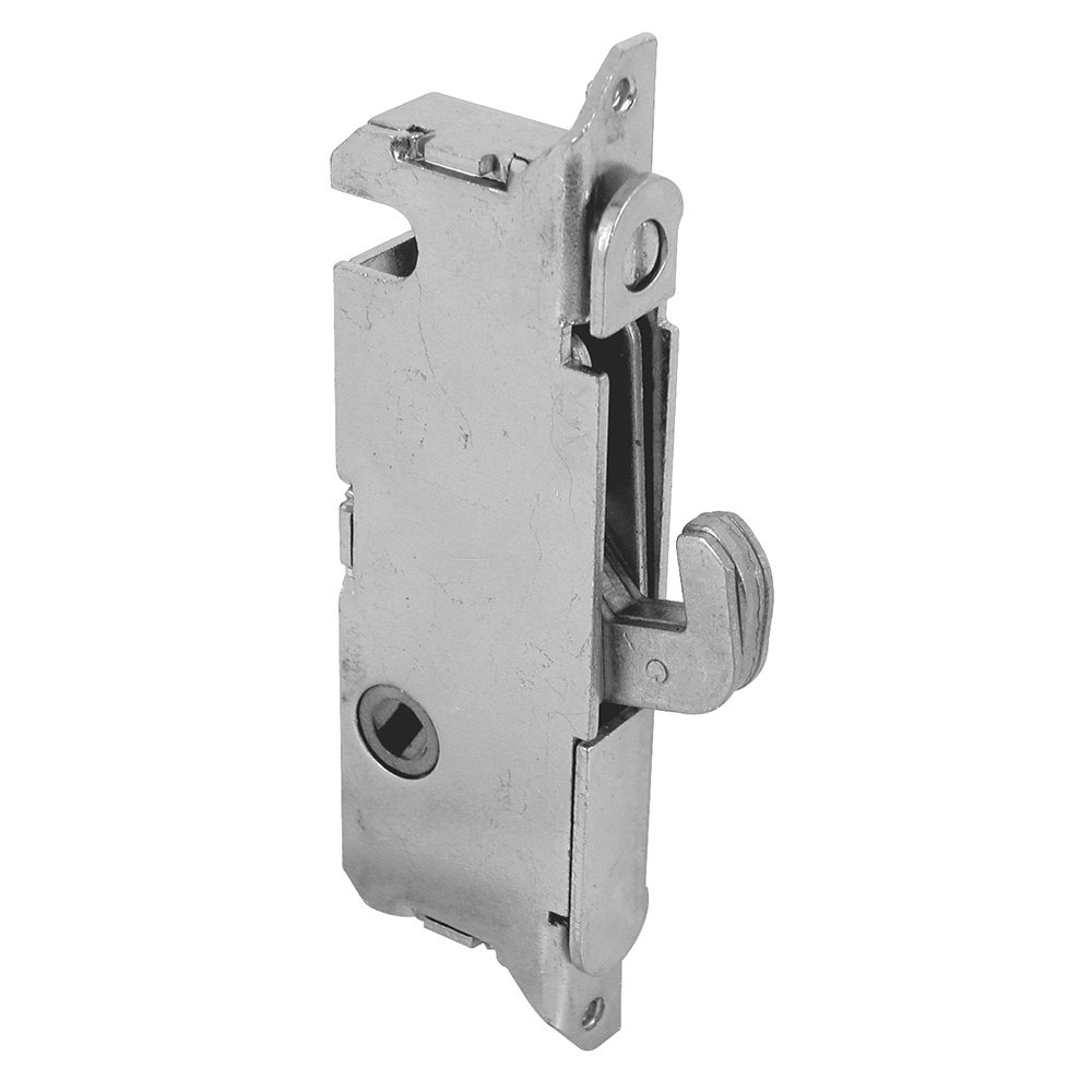 """Slide-Co 154039 Stainless Steel Mortise Lock - Adjustable, Spring-Loaded Hook Latch Projection for Sliding Patio Doors Constructed of Wood, Aluminum and Vinyl, 3-11/16"""", 45 Degree Keyway, Round Face"""