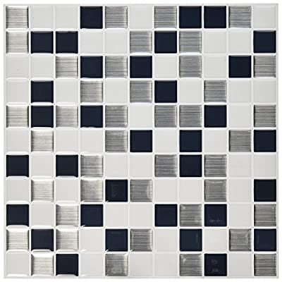 "RoomMates Black & White Mosaic StickTILES, 4-pack 10.5"" X 10.5"" by York Wallcoverings - Wall Decals"