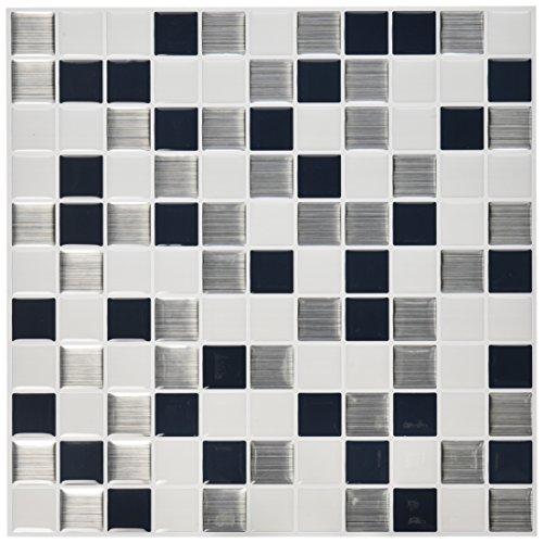 "RoomMates Black & White Mosaic StickTILES, 4-pack 10.5"" X 10"
