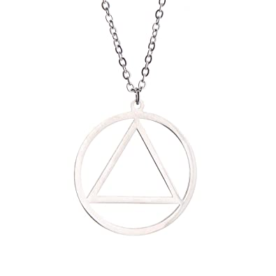 Silver Pop Punk Recovery Necklace Circle In Triangle Aa Symbol For
