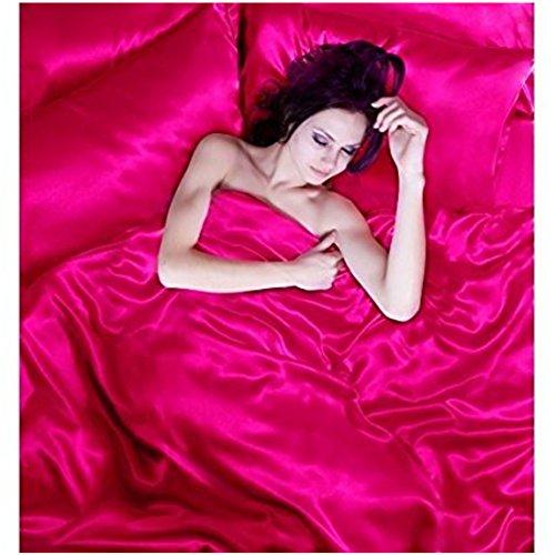 Satin 6 Pcs Silky Sexy Bedding Set Queen / King Duvet Cover Fitted Sheet & 4x Pillowcases 8 Colors (Queen, Fushia) - Power Ranger Queen Bedding