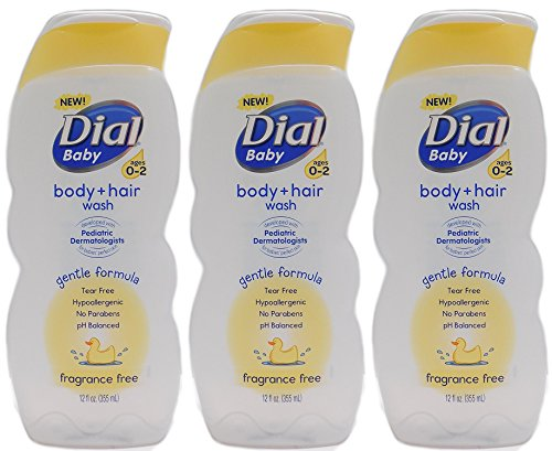 Dial Baby Body + Hair Wash, Fragrance Free, 12 Fluid Ounce (Pack of 3)