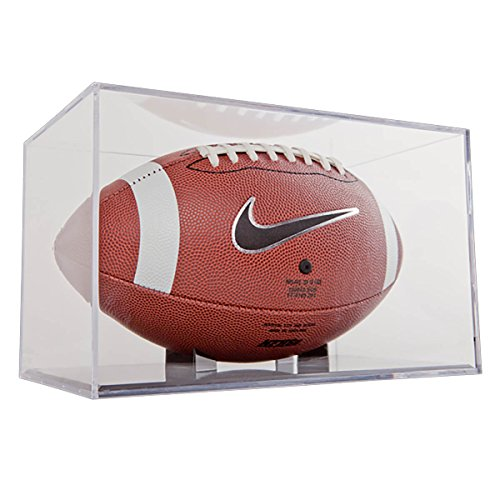 (BallQube (1) Football Grandstand Case Display Stand Holder w/Black Base)