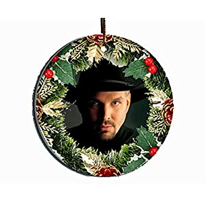 Senor Swag Garth Brooks Wreath Collectible Christmas Ornament - Gift Boxed Porcelain Disc - Image On Both Sides 28