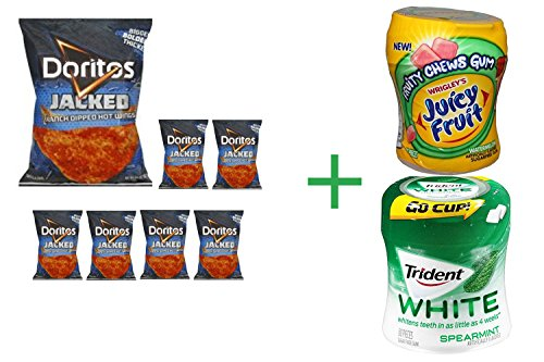 Doritos Tortilla Chips Jacked Ranch Dipped Hot Wings - 9.25 Oz (Pack of 7) + Fruity Chews Gum Watermelon 1/60 Count + Trident Go Cup Peppermint and Spearmint (Watermelon Wings)