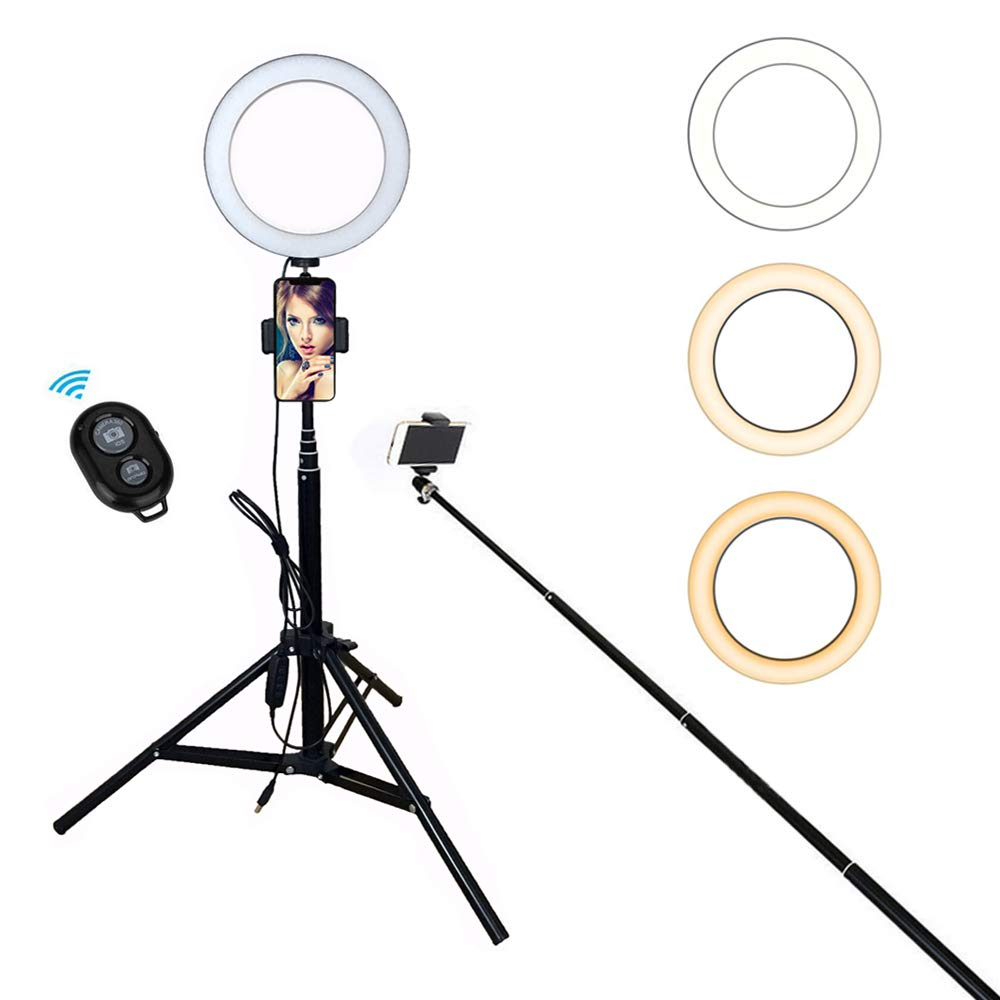 8'' Selfie Ring Light with Tripod, Monopod, Phone Holder & Remote for Live Stream/Photography/Facetime, Etubby LED Lighting Selfie Stick for iPhone, Android & Camera [3-Mode, 10 Level, 18-65'' Height]