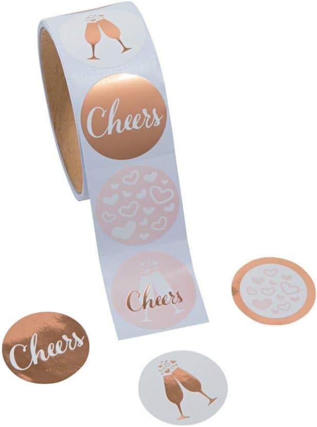 1/Rolle ~ Feiern//Cheers Gold Hochzeit Aufkleber ~ 100/rund 3,8/cm Gesamt Papier Sticker ~ New//eingeschwei/ßt