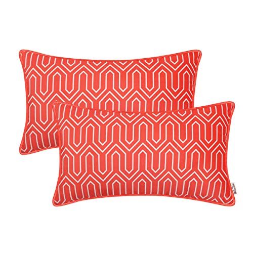 (Brawarm Cozy Fleece Bolster Pillow Cases Covers for Couch Bed Sofa Vintage Chevron Lumbar Cushion Covers Geometric Figure Pillowcases with Piping Edges Home Decor 12 X 20 Inches Living Coral Pack of 2)