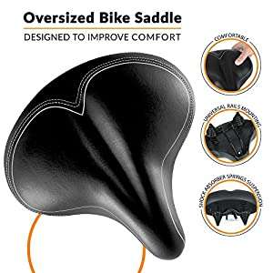 Oversized Comfort Bike Seat - Bikeroo Most Comfortable Replacement Bicycle Saddle - Universal Fit For Exercise Bike And Outdoor Bikes - Wide Soft Padded Bike Saddle For Women and Men