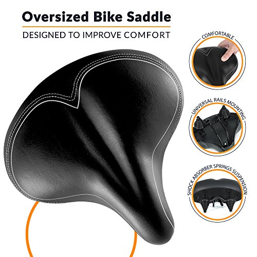 Bikeroo Oversized Comfort Bike Seat Most Comfortable Replacement Bicycle Saddle - Universal Fit For Exercise Bike And Outdoor Bikes Suspension Wide Soft Padded Bike Saddle For Women and Men