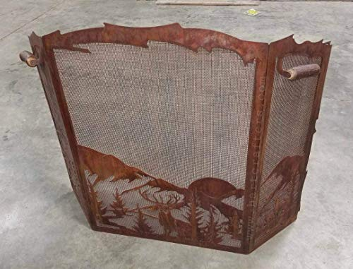 - Elk and Mountain Scene Fireplace Screen with Pine Tree Accents