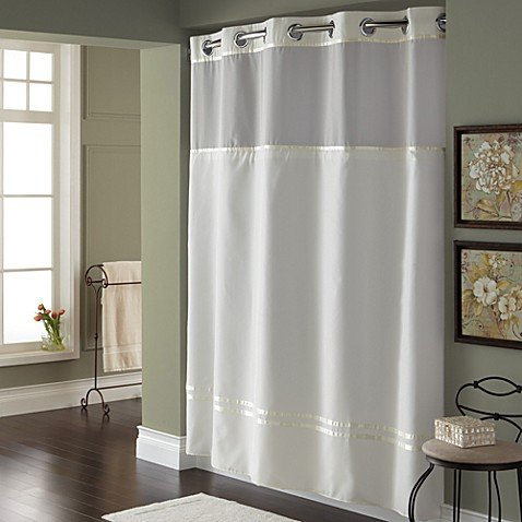 Hookless Escape 71-Inch x 74-Inch Fabric Shower Curtain and Shower Curtain Liner (71''x74'', White)