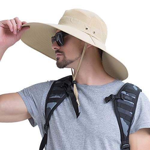 YR.Lover Super Wide Brim UPF50+ Sun Protect Hat Men's Boonie Hat Bucket Hat for Fishing, Hiking, Camping ()