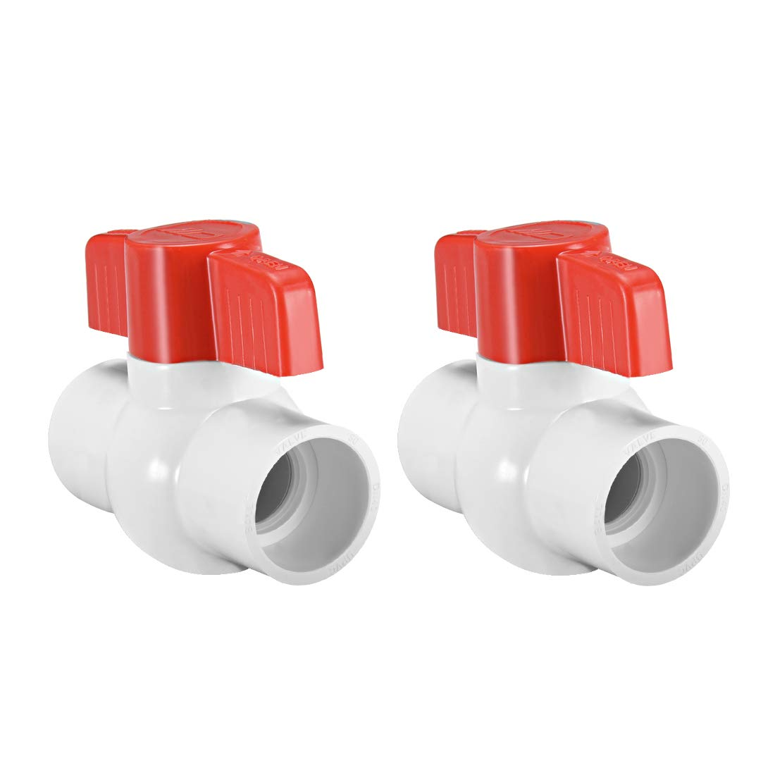 uxcell PVC Ball Valve Supply Pipe Knob Threaded Ends 1 inches Inner Hole Diameter Red White 2Pcs
