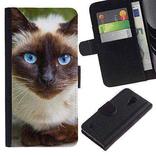 EuroCase - Samsung Galaxy S4 IV I9500 - Siamese cat blue eyes feline Thai - Cuero PU Delgado caso cubierta Shell Armor Funda Case Cover