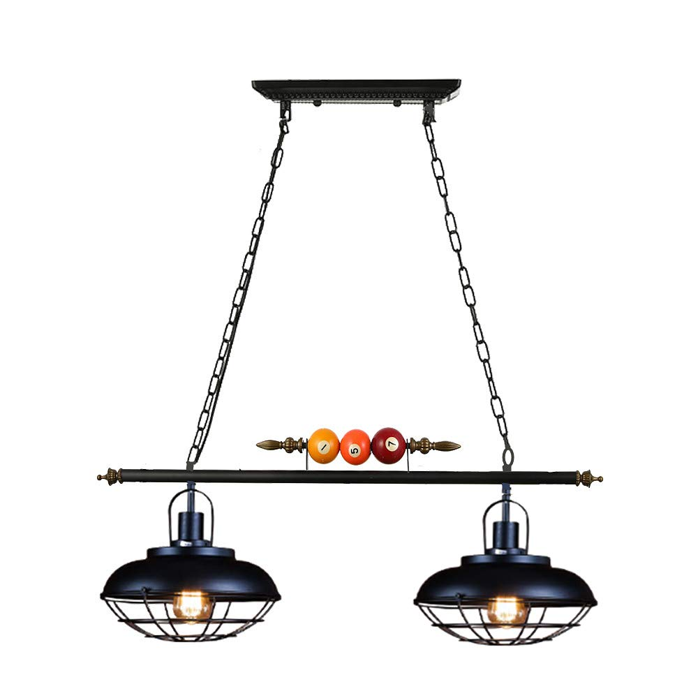 Ladiqi Hanging Pendant Light 2 Lights Pool Table Lighting Fixture Industrial Vintage Kitchen Island Lighting Bowl Cage Shade with Billiard Ball Decoration for Gaming Room Dining Room Restaurant