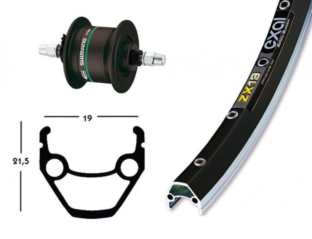 Bike-Parts 28´´ Vorderrad Exal ZX 19 + Nabendynamo Shimano DH-C3000