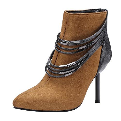 d6f71775da93 YE Damen Ankle Boots Stiletto High Heels Spitze Stiefeletten mit  Reißverschluss und Ketten 9cm Absatz Elegant
