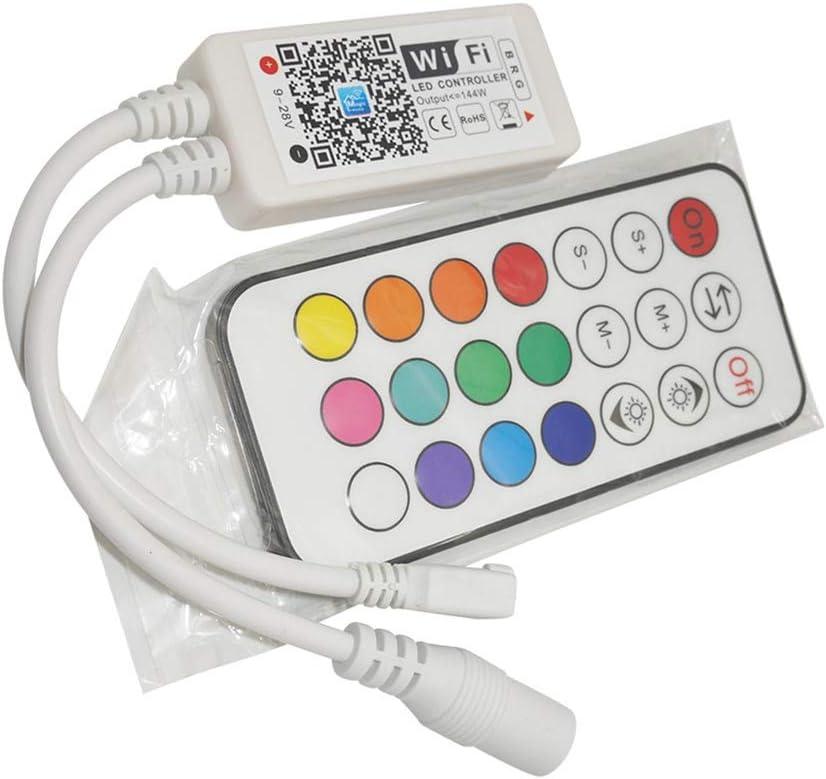 Hotaluyt Inicio DC5V 12V 24V Bluetooth Wireless WiFi Controller RGB/Controlador LED RF IR RGBW, 21Key IR RGB de 4 Pines WiFi