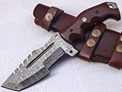 TR-301, Custom Handmade Damascus Steel Tracker Knife - Beautiful Micarta Wood Handle Perfect Edges. Over All Length = 10.00 Inches, Blade Length = 05:00 Inches Handle Length = 05.00 inches Handmade Durable Leather Sheaths Included.and rod hav...