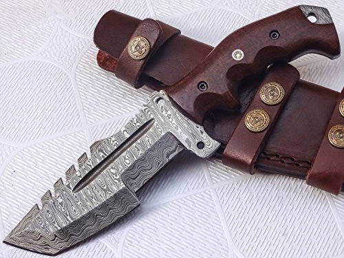 TRH-002, Custom Handmade Damascus Steel Tracker Knife – Stunning Micarta Handle