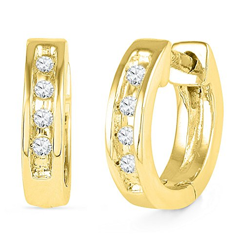 10kt Yellow Gold Womens Round Diamond Single Row Huggie Earrings 1/20 Cttw by Brilliant Bijou