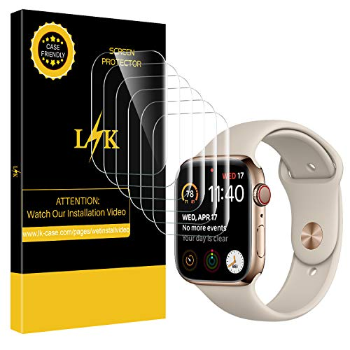 [6 Pack] LK for Apple Watch Screen Protector 40mm 38mm (Series 4/3/2/1 Compatible), Full Coverage Flexible Film with Lifetime Replacement Warranty ()