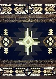 south west native american area rug 5 ft x 7 ft black design c318 kitchen dining. Black Bedroom Furniture Sets. Home Design Ideas
