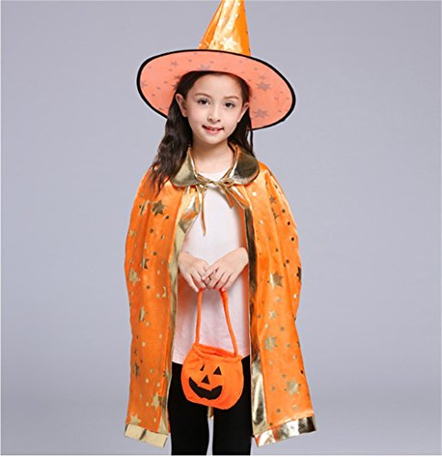 Halloween Costumes Witch Wizard Cloak with Hat for Kids Boys Girls (Kids Wizard Outfit)