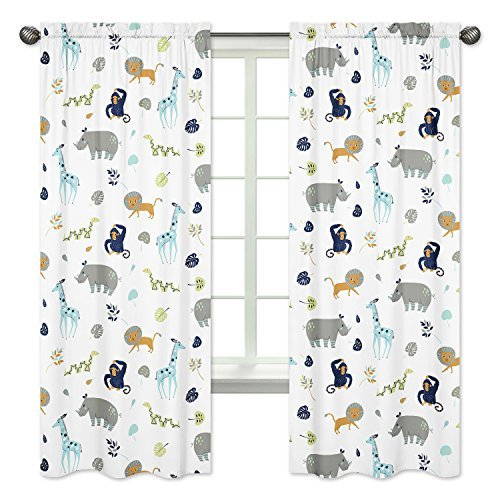 Sweet Jojo Designs 2-Piece Turquoise and Navy Blue Safari Animal Window Treatment Panels Curtains for Mod Jungle Collection by