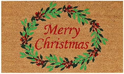 Calloway Mills 101941729 Christmas Wreath Doormat, 17 x 29 x 0.60 , Multicolor