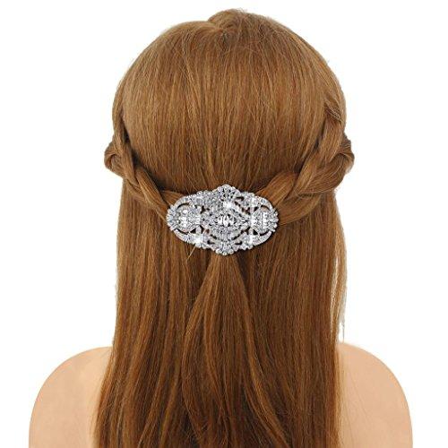 EVER FAITH 1920's Style Bride Hair Barrette Art Deco Clear Austrian Crystal Silver Tone