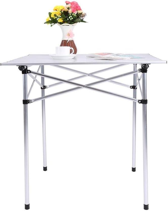 Tavolo da Campeggio Portatile con Borsa da Trasporto per Picnic Campeggio Tavolo da Campeggio Pieghevole in alluminio Tavolo Multifunzione tavola di rotolamento 70x70x70 cm Tavolino da pic-nic