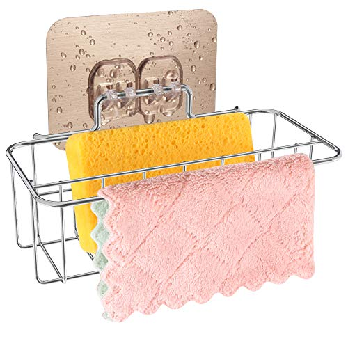 2 in 1 Sponge Holder+Rag Holder for Kitchen Sink with Adhesive, 304 Stainless Steel Kitchen Sink Sponge holder Organization Basket, Kitchen Sink Caddy holder-Easy to Use