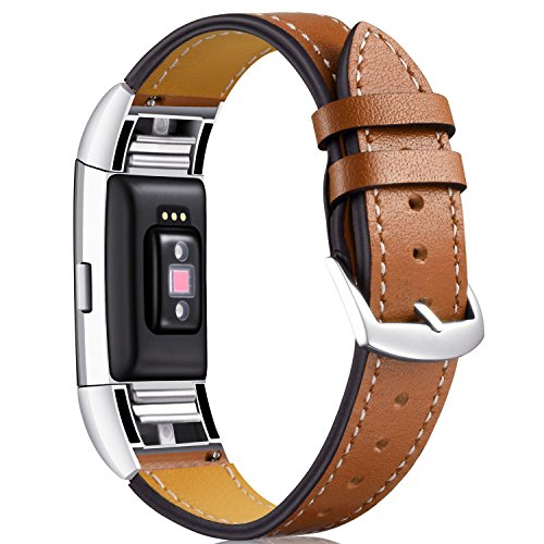 Calf Leather Top (Dizywiee for fitbit charge 2 bands, Fitbit charge 2 accessory wristband with stainless steel connector, Genuine leather charge 2 replacement bands women men)