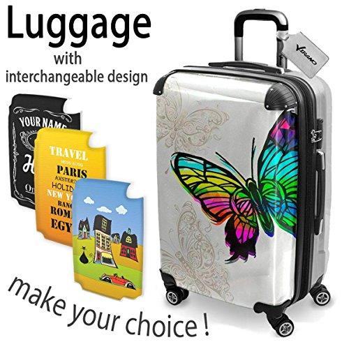 Melody 10008, Schmetterling, Hard Luggage Trolley Koffer Hartschalen Hartgepäck Case, 360 4 Rollen System mit Austauschbar und Farbig Design. Größe Mittel, M