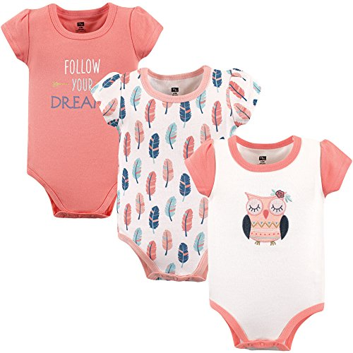 Hudson Baby Short Sleeve Bodysuits, 3 Pack, Follow Your Dreams, 3-6 Months ()