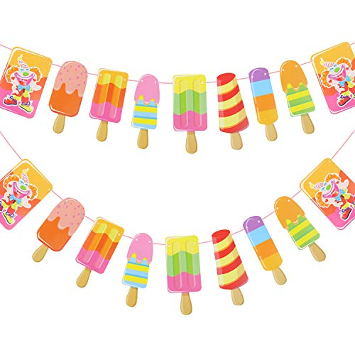 Paper Popsicle Banner DIY Paper Garland for Kids Birthday Party Baby Showers Summer Party Decoration 2 Pack