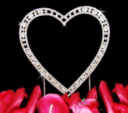 (Vintage Swarovski Crystal Single Heart Wedding Cake Topper)