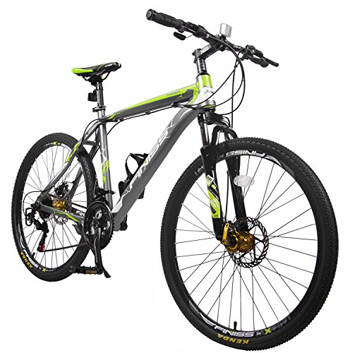 "Merax Finiss 26"" Aluminum 21 Speed Mountain Bike with Disc Brakes(Fashion Gray&Green)"