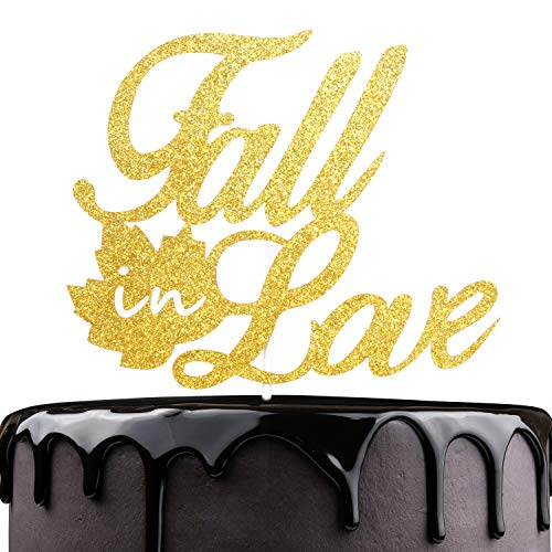Fall In Love Autumn Wedding Cake Topper - Gold Glitter Fall Leaves Bridal Shower Engagemen Party Décor - Happy Thanksgiving Thankful Cake Decoration