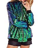 Cresay Women's Sequin Fitted Long Sleeve Zipper Blazer Bomber Jacket-Green S