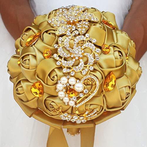 VOCHENG 3pc Set Bridal Bouquet,Handmade Roses Wedding Flowers Crystal Heart Pearl Party Decor(Bouquet&Boutonniere&Wrist Corsage Set) (Champane Set)