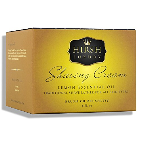 Hirsh Luxury Shaving Cream Lemon Essential Oil 8oz (Shaving Lemon Essential Oil)