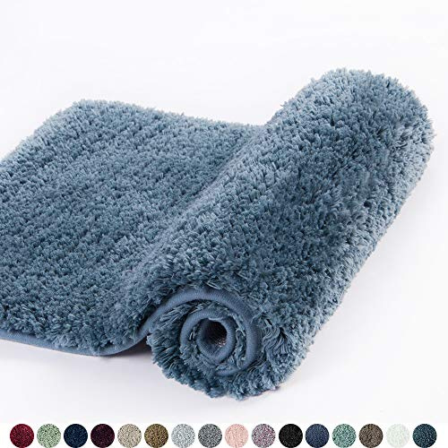 Walensee Bathroom Rug Non Slip Bath Mat for Bathroom (16 x 24, Slate) Water Absorbent Soft Microfiber Shaggy Bathroom Mat Machine Washable Bath Rug for Bathroom Thick Plush Rugs for Shower